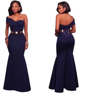 Dresses & Skirts - Long Dress Party Navy Blue One Shoulder Maxi Gowns